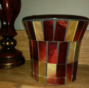 Vintage glass mosaic red candle shade, gold red mosaic, hurricane lamp shade