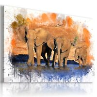 ELEPHANT PAINTING  Wild Animals PRINT Canvas Wall Art AN287 UNFRAMED-ROLLED