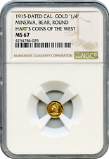 1915 California Gold. Minerva, Bear, Round.1/4 Harts Coins of the West. NGC MS67