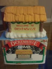 Dickensville Collectables Porcelain Christmas Sign Village Figurine In Box