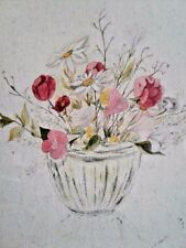 Art Painting Vase Full of Flowers Watercol ororiginal on Paper With Frame signed