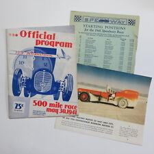 Vtg 1941 Indianapolis 500 Official Program Score Sheet Insert Race Souvenir