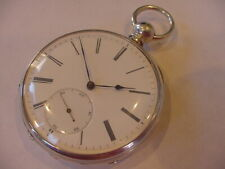 Keyless Solid Silver Antique Pocket Watch! Rare 1880 Ulysse Bourquin 18 size