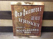 OLD FAITHFUL WHISKEY Bootleggers Sign Tin Vintage Garage Bar Decor Old Rustic