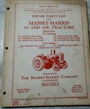 Massey Harris 55 And 55k Tractors Repair Parts List