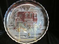 "CHRISTMAS ROUND PLATTER ANITQUE SHOPPE SCENE HORSE CHILDREN PEOPLE 14"" WIDE"