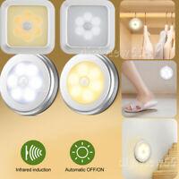 6LED Motion Sensor Lights PIR Wireless Night Light Battery Cabinet Stair Lamps