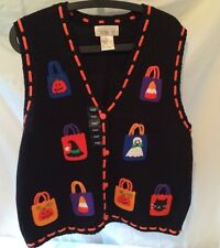 Black Halloween Sweater Vest. Felt Decor. Mandal Bay Brand. Size L. NWT
