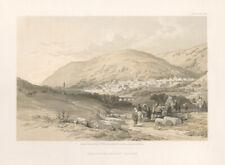 Nablous, The Ancient Shechem. West Bank. David Roberts quarto lithograph, c1855