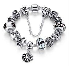 Bettelarmband 925 Sterlingsilber Charm Charms Krone Blume Herz Element Beads 33
