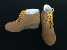 Authentic TOMS Desert Wedge Faux Shearling Lined Ankle Boots, W Size 7 Booties