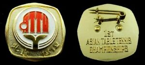 Vintage 1st Asian Table Tennis Championships 1972  Chinese Sport Pin Rare