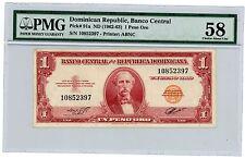 Dominican Rep ... P-91a ... 1 Peso Oro ... ND(1962-63) ... CH*AU-UNC*   PMG 58