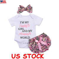 Newborn Baby Girls Romper Tops Jumpsuit Tutu Pants Headband Outfits Clothes 3pcs