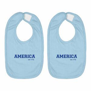 Infant Baby Bib Cotton Hook & Loop 2-Piece Babies Gift America Est. 1776 July 4