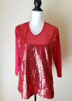 Quacker Factory Womens Top Red Sparkle Shine Sequin Embellished Front Size Large