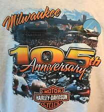 Harley Davidson 105 Anniversary Milwaukee Hal's New Berlin WI Gray Large T Shirt