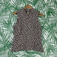Anthropologie Akemi & Kin High Neck Leopard Top Women's Size Small