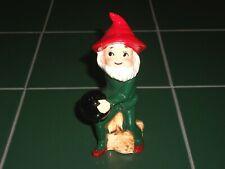 1960s Criterion Japan Porcelain Bowling Pixie Elf Dwarf Green w/Red Hat Figurine