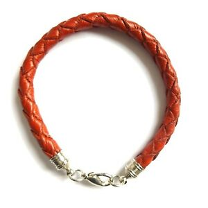 FIRE RED THICK ROUND QUALITY SOFT LEATHER BRACELET STRAP PLAITED WOVEN HANDMADE