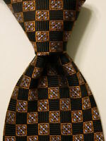 BALDESSARINI HUGO BOSS Mens Silk Necktie ITALY Luxury Geometric Blue/Orange EUC