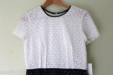 NWT Calvin Klein Beautiful Crochet Knit White Twilight Blue Cap Sleeve Dress 10