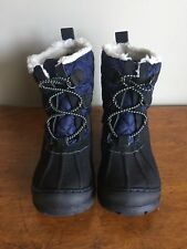 Quilted Gap Little Kid Size 11 Navy Sherpa Snow/Duck Boots Euc!
