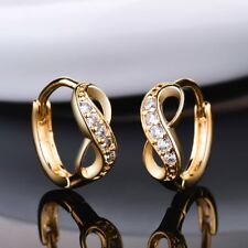 18k Gold Filled Women Sapphire Crystal Unique Infinity Wedding Hoop Earrings