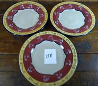 Lot of 3 Salad Bowls Pier 1 Vallarta 11 1/4 Inch Red Gold Dinnerware