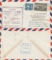 US 1959 PAN AM CLIPPER FIRST FLIGHT FLOWN COVER LOS ANGELES TO LONDON ENGLAND