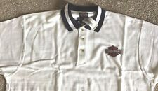 Harley Davidson White polo with navy trim golf Shirt NWT Men's XL