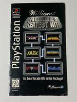 WILLIAMS ARCADE GREATEST HITS PlayStation 1 PS1 1995 Long Box Instruction Manual