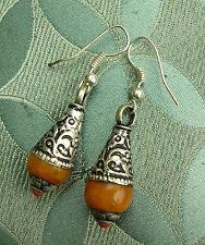 Traumhafte Ohrringe Amber und Tibet-Silber aus Nepal