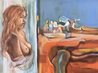ORIGINAL Acrylic painting Nude Female Abstract Surreal Landscape Sensual Art