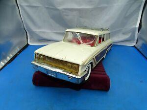 Vintage 1960's Buddy L Pressed Steel White Paneled Station Wagon W/ Luggage Rack