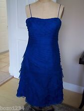 BN WILLA HAN SILK SPAGHETTI STRAP SZ 10 DRESS RUFFLES COBALT BLUE RETAIL$1785.00