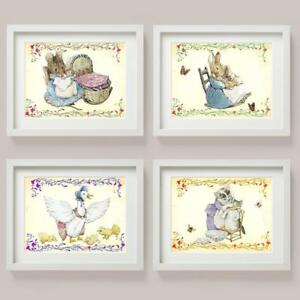 Set of 4 Beatrix Potter RABBIT Jemima Duck TOM Cat MOUSE Picture Prints NURSERY