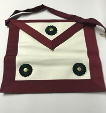 Vintage Dark Red Knights Masonic Apron With Case ~Part Of Big Collection~