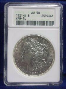 1921 D Morgan Silver Dollar ANACS AU58 VAM-1L