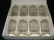 Set of 8 Vintage Lotus 25th Anniversary Drinking Glass/Tumblers In Original Box