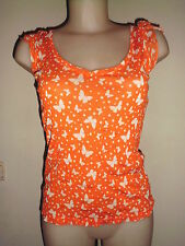 SUPERBE LEGERE BLOUSE FEMME ZARA ORANGE A MOTIF PAPILLON BLANC CASSE T:M