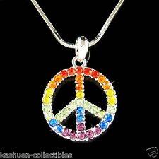 w Swarovski Crystal 60's ~Rainbow PEACE sign Symbol hippie Boho Pendant Necklace