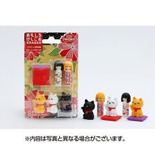 Set of 10 Japanese Iwako Maneki Neko & Kokeshi Eraser Set S-3419x10