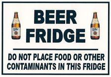 Warning Refrigerator Magnet - 5 X 7 inches - Beer Fridge - Miller Lite Bottle