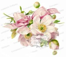 Vintage Image Shabby Dogwood With Pink Bow Waterslide Decals FL186
