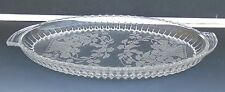Antique Elegant Glassware Oval Plate Tray Flowers in Basket Etched Design