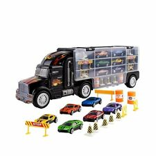 Truck Transport Car Carrier Toy for Boys and Girls, Fits 28 Car Slots, 6 Cars