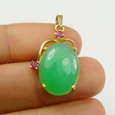 Australian Chrysoprase Ruby Gems Claw Drop Pendant Genuine 750 18k Yellow Gold