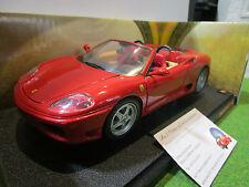 FERRARI 360 SPIDER rouge cabriolet sièges bacquets 1/18 HOT WHEELS 57310 voiture