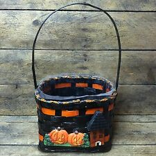 FTD Halloween Basket black with Jack O'Lanterns and Haunted House